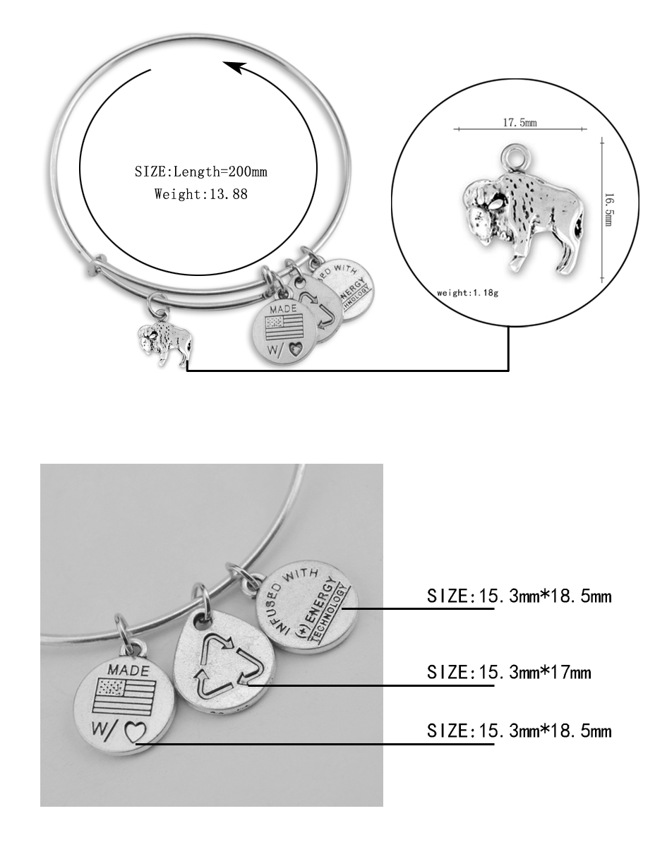 6f2c3ebbbb1 Wholesale Jewelry Antique Silver Material Alex And Ani Wire Adjustable  Custom Large Buffalo DIY Animal Charm Bracelets Bangles
